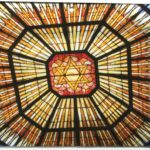 Color photograph of synagogue ceiling