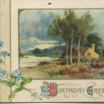 Postcard with birthday greetings, cottage, and natural scenery.