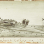 Illustration of the Amherst College campus in 1821