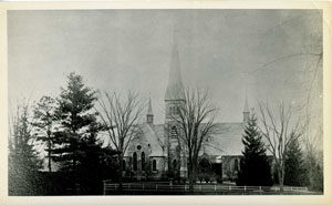 An old photograph of the Dickinson's church, The First Congregational church of Amherst