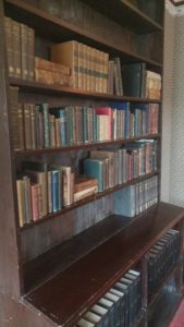 A bookshelf in the Homestead library