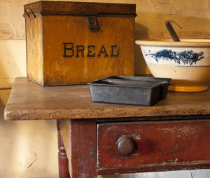Bread pan and box from Evergreens kitchen