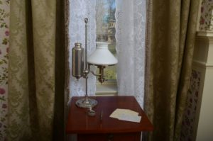 the view from Dickinson's desk, where she composed many poems