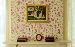 Emily Dickinson's bedroom wall with restored wallpaper