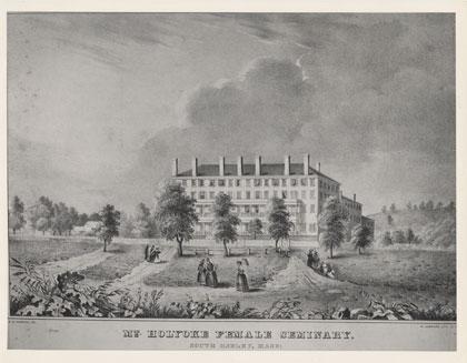 An artist's rendering of Mount Holyoke Women's seminary