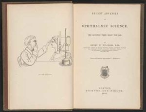 Opening pages of a book on Ophthalmic Science by Henry W. Williams, Dickinson's ophthalmologist