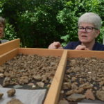 Archaeologists looking over artifacts found at the museum
