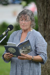 Burleigh Muten reading from her book at an Emily Dickinson museum event