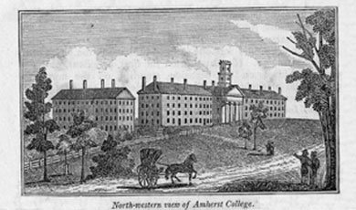 black and white print of Amherst College buildings with horse draw carriage in foreground