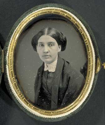 Black and white photograph of a young Susan Dickinson