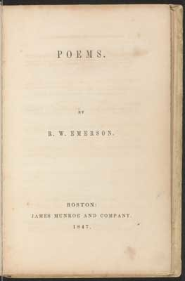 the title page of POEMS by Emerson