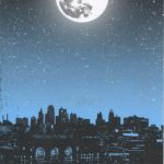 Colored postcard of moon over cityscape
