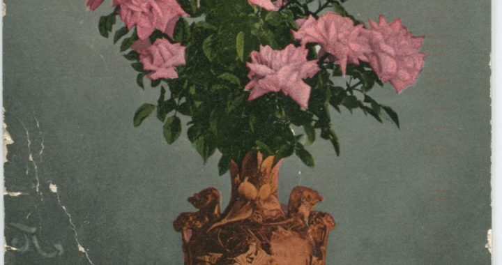 Color postcard with roses in vase