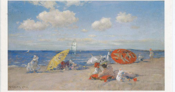 Postcard of oil on canvas depicting seaside, William Merritt Chase