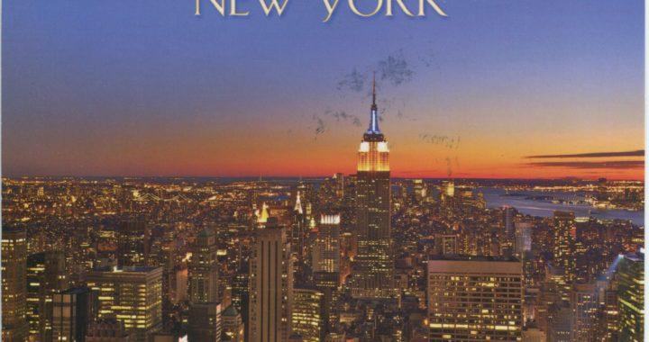 Postcard of New York skyline at sunset