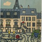 Color postcard of Paris, balcony, and birds