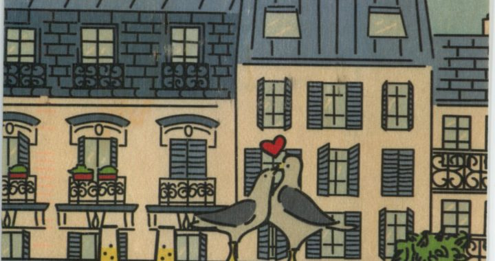Color postcard of Paris, balcony, and birds