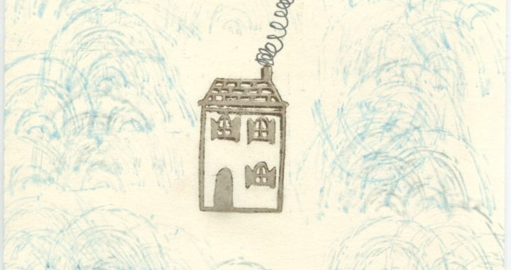 Postcard with house and smoke pluming out of chimney