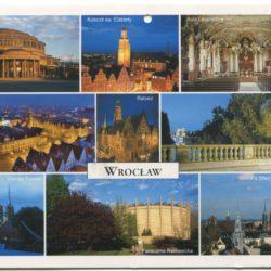 Color postcard of Wroclaw landmarks