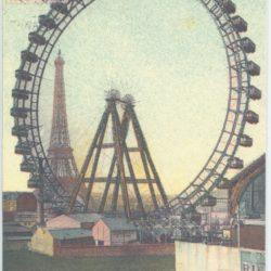 Postcard of ferris wheel and eiffle tower