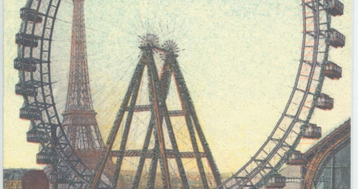 Postcard of ferris wheel and eiffle tower