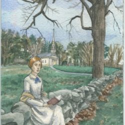 Postcard of Emily Dickinson inspired watercolor painting
