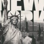 Black and white postcard depicting the statue of liberty and the words 'NEW YORK CITY'