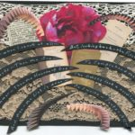 postcard with a paper collage of flower books and words on lace fragments
