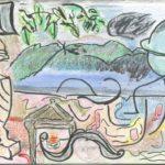 Color postcard depicting natural and domestic scenes.