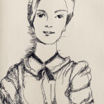 A black and white drawing of Emily Dickinson in pen