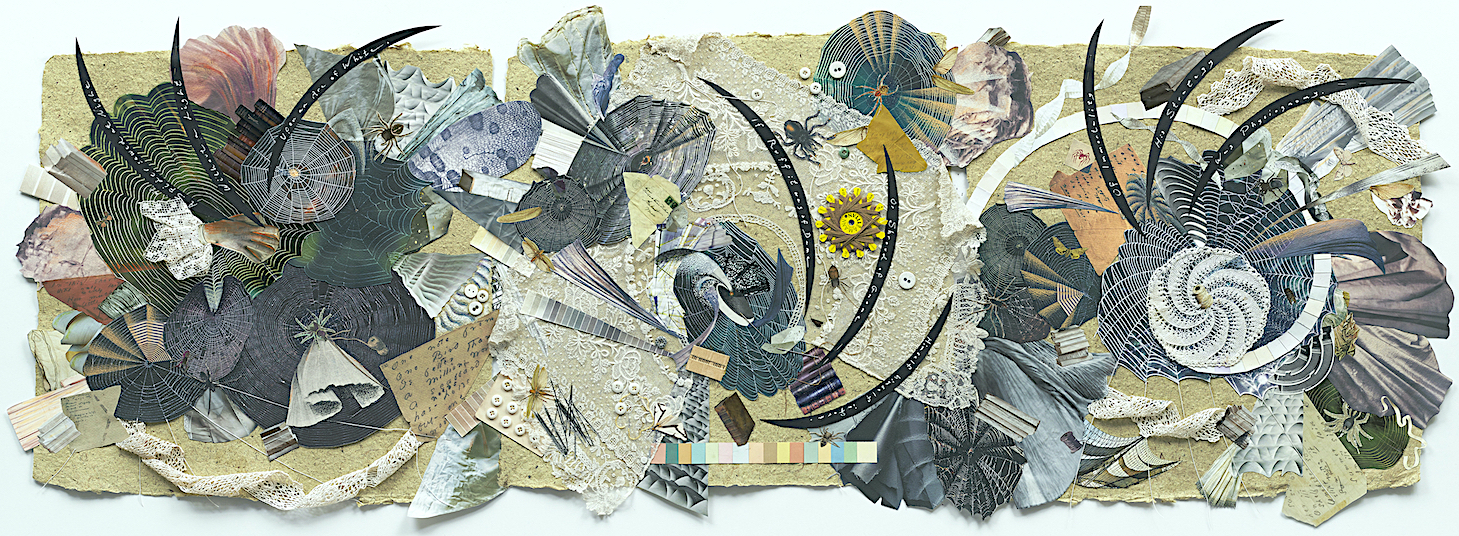 A rectangular collage of images of spiderwebs and books, lines from ED's poem 'a spider sews at night', and pieces of lace and string, creating and intricate and textural web