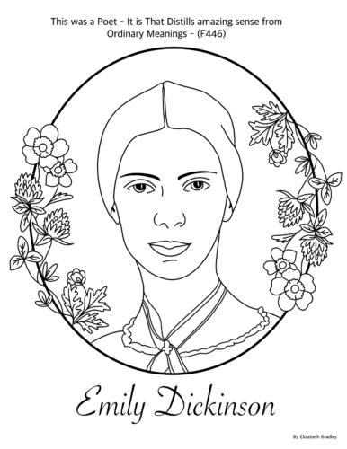 This is a printable coloring sheet depicting Emily Dickinson.