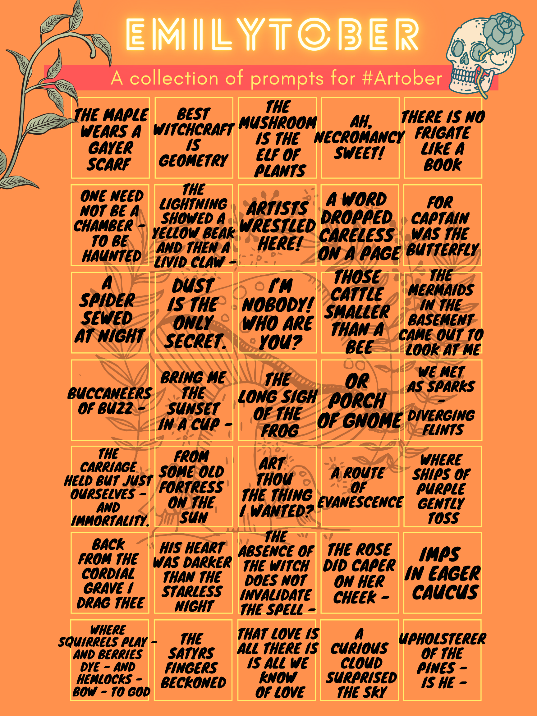 The prompts are arranged in a grid over an orange background featuring a faded image of a mushroom, and framed by images of a skull, flowers, and vines