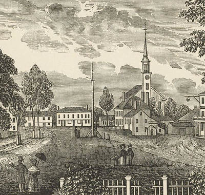 Etching of Concord Massachusetts in the 1840s