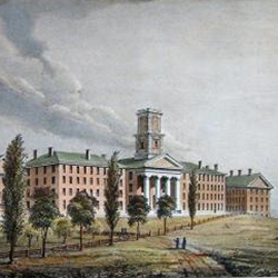 Illustration of Amherst College buildings known as College Row in the 1800s