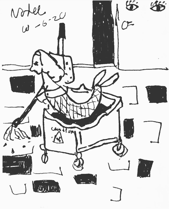 A rendering in black ink of a mermaid, seated in a janitor's trolley, mopping a tiled floor as two eyes look on from a nearby wall