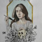 """An ink painting of Emily Dickinson, her hair down, framed in gold with a bouquet of flowers and skulls beneath her. She holds a quill in her right hand. More flowers are at the top, along with a banner reading """"Emily Dickinson"""""""