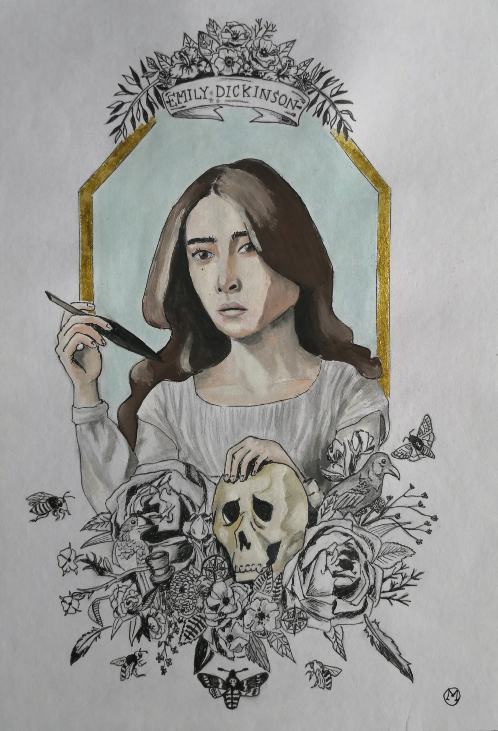 "An ink painting of Emily Dickinson, her hair down, framed in gold with a bouquet of flowers and skulls beneath her. She holds a quill in her right hand. More flowers are at the top, along with a banner reading ""Emily Dickinson"""