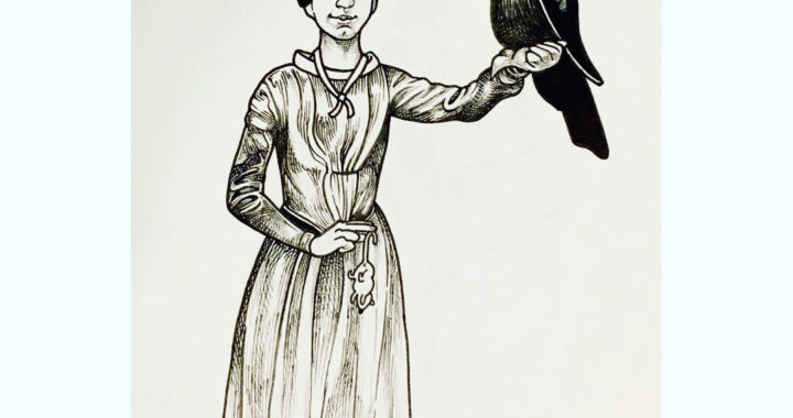 Black ink on sepia toned paper, this is a drawing of Emily Dickinson posing with a knowing smirk, holding a mouse by the thumb and forefinger of her right hand and with an enormous, mohawked bird perched on her left forearm