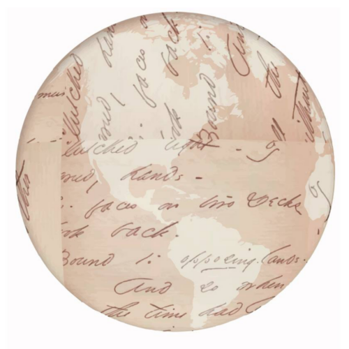 Circular image of the Earth with Emily's handwriting overlaid atop