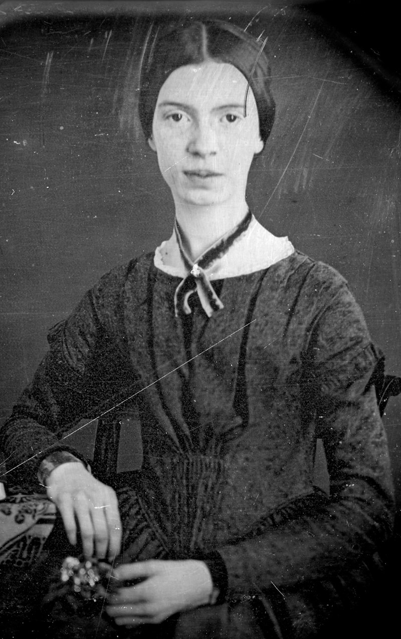 Emily Dickinson daguerreotype portrait, showing the poet wearing a black dress and a ribbon on her neck