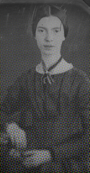 daguerreotype of Emily Dickinson fading into pixels