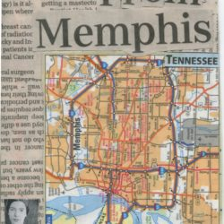 Postcard featuring collage, map of Memphis