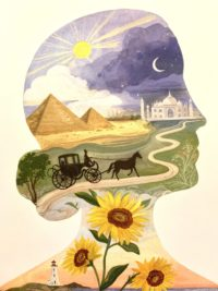 Silhouette illustration of Dickinson's head, with imagery from her poetry inside, including: sunflowers, a carriage, pyramids, the moon and sun