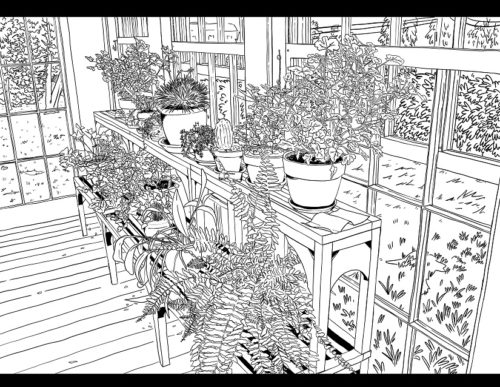 This is a printable coloring sheet featuring Emily Dickinson's conservatory.