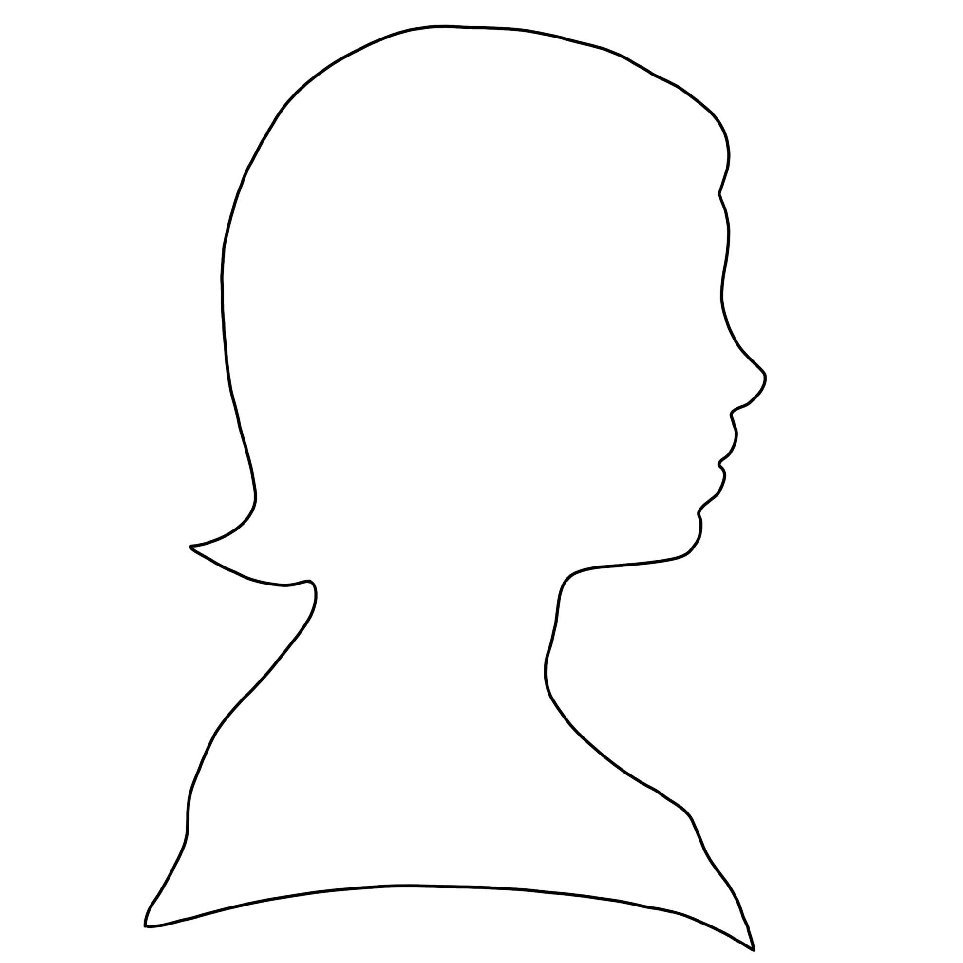 silhouette of Dickinson as a child: a girl with a bob faces right