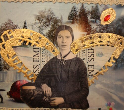 An image of Emily is collaged with music, text, a landscape of pine trees and gold edging to form wings behind her