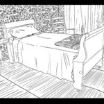 This is a printable coloring sheet of Emily Dickinson's bedroom in the Homestead. It features her wallpaper, floor mats, her bed and shawl.