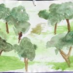 Postcard face on which an image of several trees has been painted in watercolor