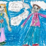 """color postcard featuring a crayon and pencil drawing of two people talking. Person one says """"I'm nobody who are you?"""", and person two replies, """"I'm nobody. That means we are a pair"""""""
